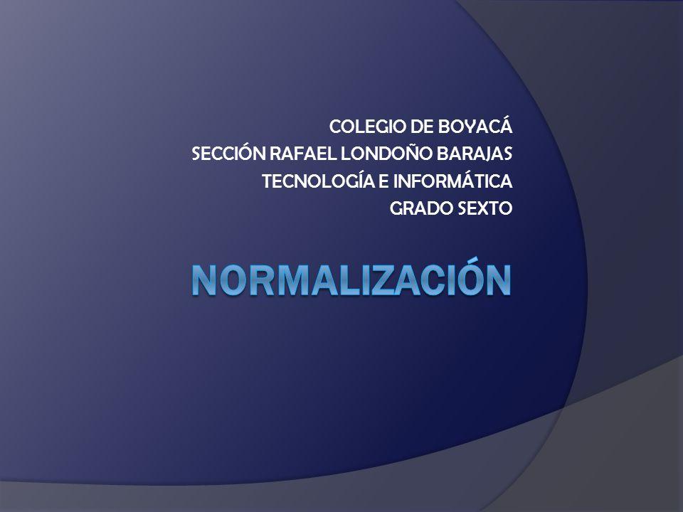 COLEGIO DE BOYACÁ SECCIÓN RAFAEL LONDOÑO BARAJAS TECNOLOGÍA E INFORMÁTICA GRADO SEXTO
