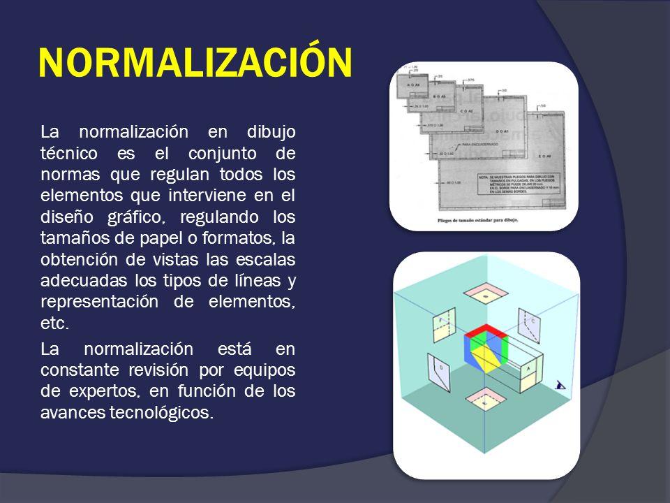 NORMALIZACIÓN La normalización en dibujo técnico es el conjunto de normas que regulan todos los elementos que interviene en el diseño gráfico, regulan
