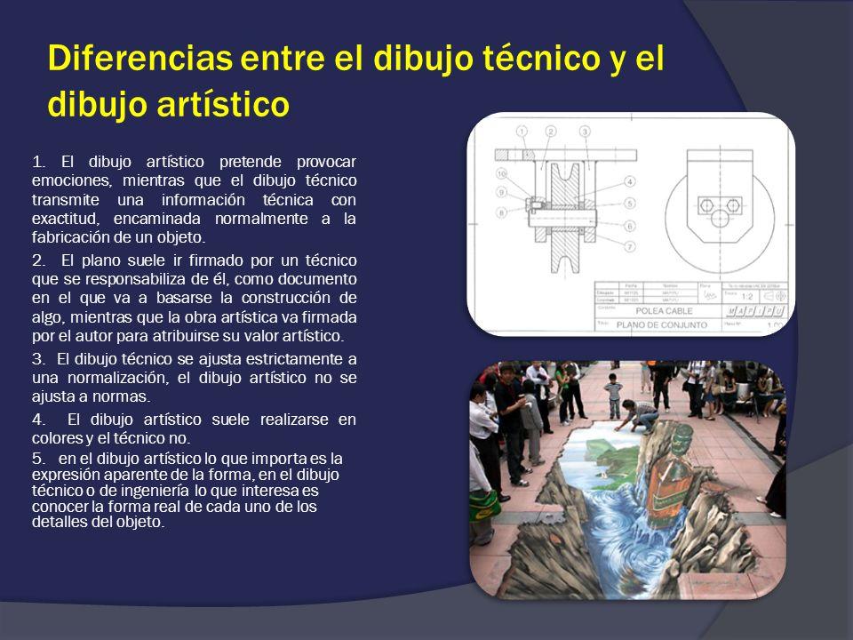 Diferencias entre el dibujo técnico y el dibujo artístico 1. El dibujo artístico pretende provocar emociones, mientras que el dibujo técnico transmite