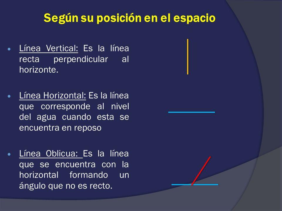 Según su posición en el espacio Línea Vertical: Es la línea recta perpendicular al horizonte. Línea Horizontal: Es la línea que corresponde al nivel d