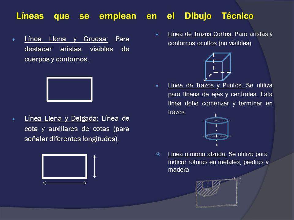 Líneas que se emplean en el Dibujo Técnico Línea de Trazos Cortos: Para aristas y contornos ocultos (no visibles). Línea de Trazos y Puntos: Se utiliz