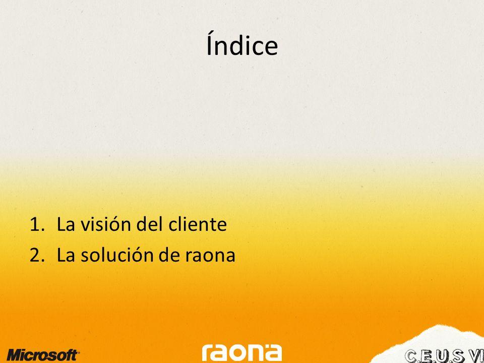 Índice 1.La visión del cliente 2.La solución de raona