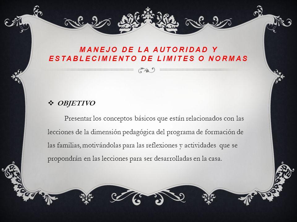 MANEJO DE LA AUTORIDAD Y ESTABLECIMIENTO DE LÍMITES O NORMAS TEMA