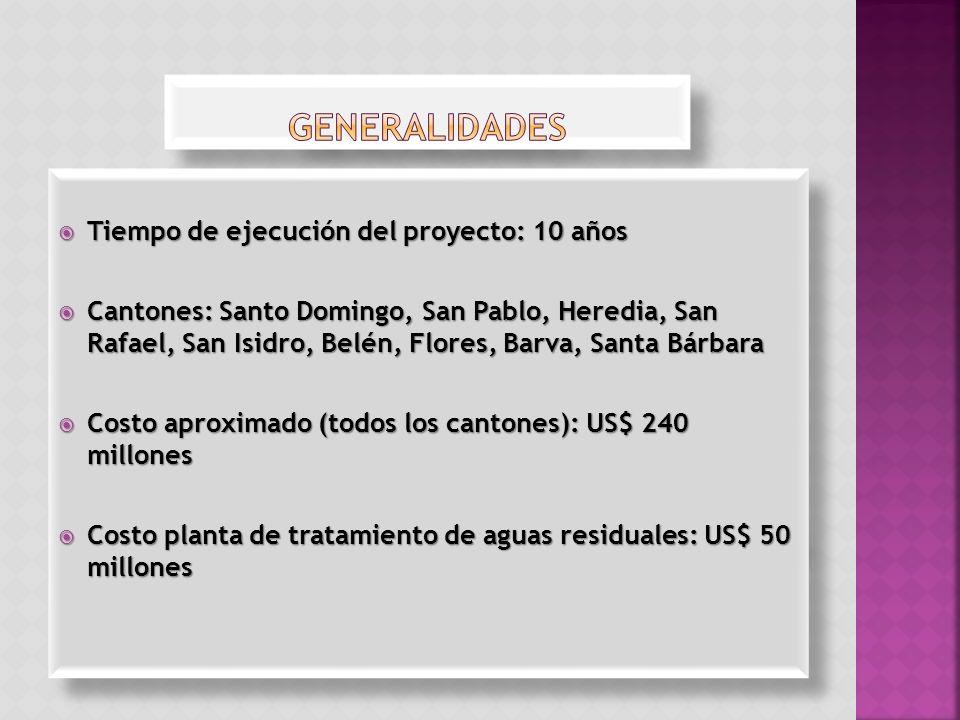 Tiempo de ejecución del proyecto: 10 años Tiempo de ejecución del proyecto: 10 años Cantones: Santo Domingo, San Pablo, Heredia, San Rafael, San Isidr