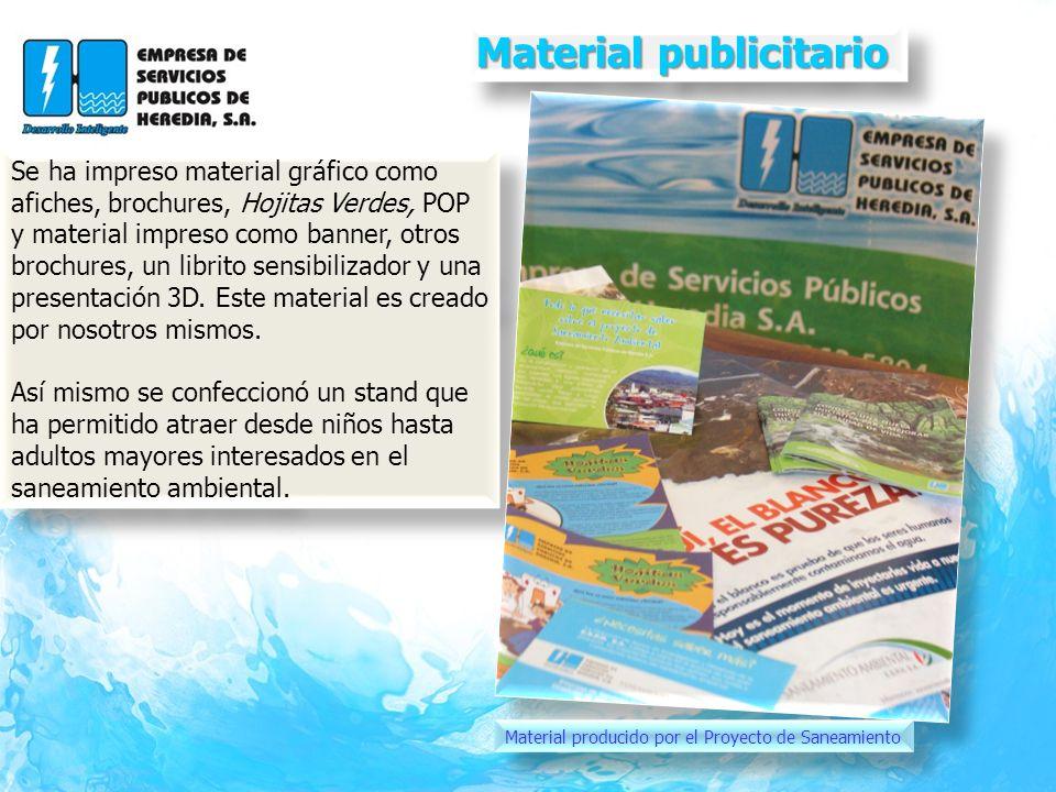 Material publicitario Material publicitario Se ha impreso material gráfico como afiches, brochures, Hojitas Verdes, POP y material impreso como banner