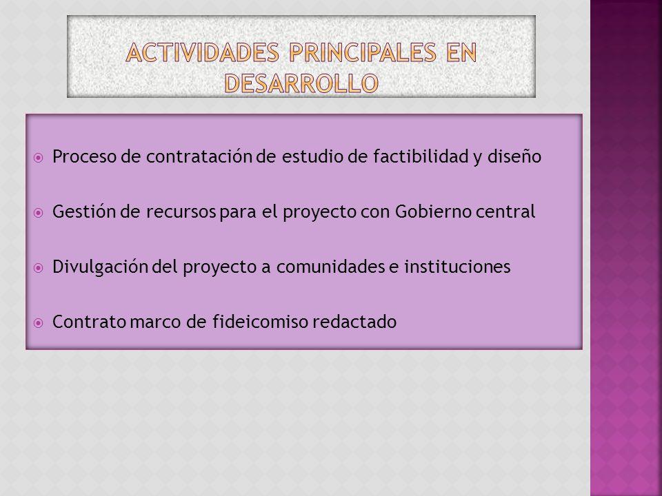 Proceso de contratación de estudio de factibilidad y diseño Gestión de recursos para el proyecto con Gobierno central Divulgación del proyecto a comun