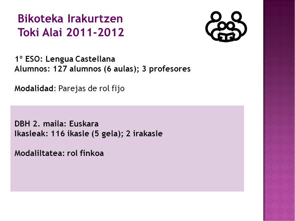 1º ESO: Lengua Castellana Alumnos: 127 alumnos (6 aulas); 3 profesores Modalidad: Parejas de rol fijo DBH 2.