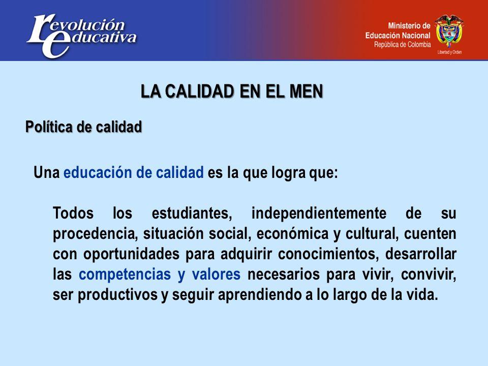 LA CALIDAD EN EL MEN Política de calidad Una educación de calidad es la que logra que: Todos los estudiantes, independientemente de su procedencia, si