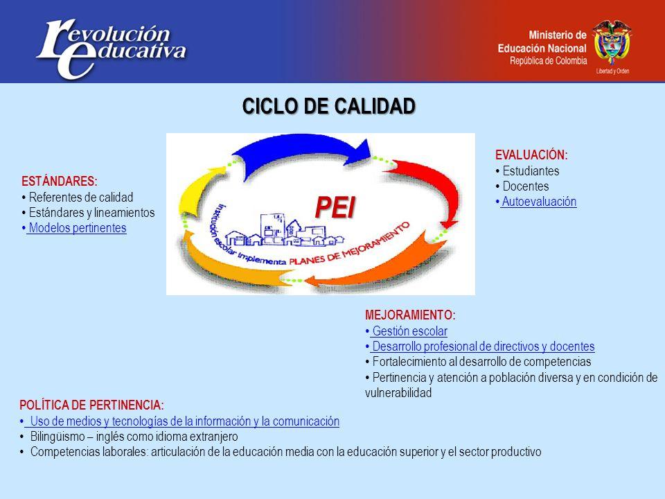 ESTÁNDARES: Referentes de calidad Estándares y lineamientos Modelos pertinentes MEJORAMIENTO: Gestión escolar Desarrollo profesional de directivos y d