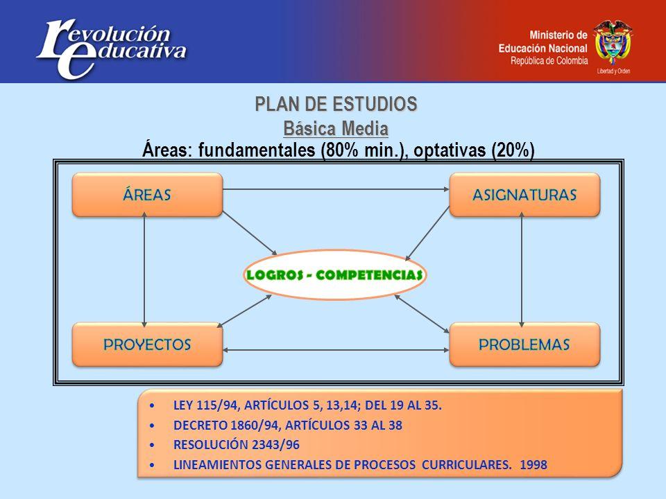Áreas: fundamentales (80% min.), optativas (20%) LEY 115/94, ARTÍCULOS 5, 13,14; DEL 19 AL 35. DECRETO 1860/94, ARTÍCULOS 33 AL 38 RESOLUCIÓN 2343/96