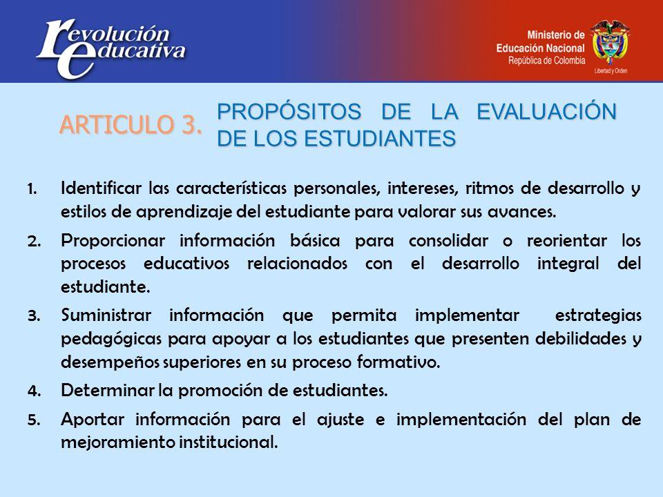 PROPÓSITOS DE LA EVALUACIÓN DE LOS ESTUDIANTES 1.Identificar las características personales, intereses, ritmos de desarrollo y estilos de aprendizaje