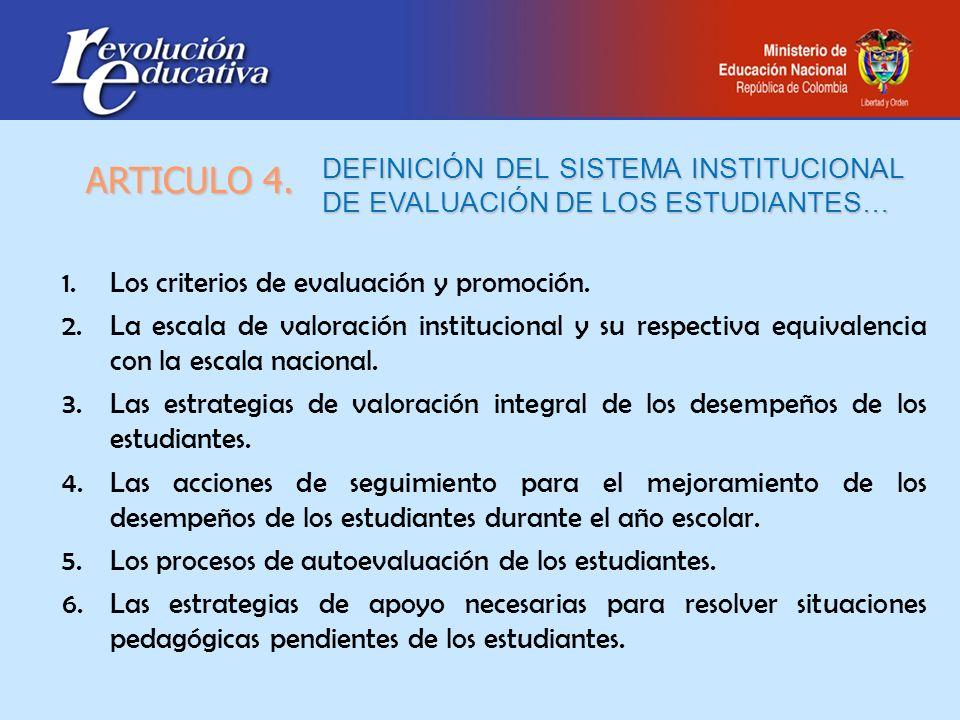DEFINICIÓN DEL SISTEMA INSTITUCIONAL DE EVALUACIÓN DE LOS ESTUDIANTES… 1.Los criterios de evaluación y promoción. 2.La escala de valoración institucio