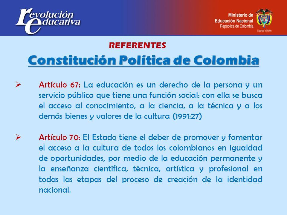 REFERENTES Constitución Política de Colombia Artículo 67: La educación es un derecho de la persona y un servicio público que tiene una función social: