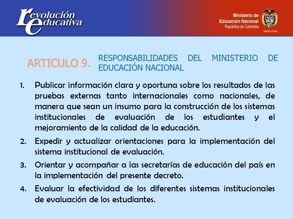 RESPONSABILIDADES DEL MINISTERIO DE EDUCACIÓN NACIONAL 1.Publicar información clara y oportuna sobre los resultados de las pruebas externas tanto inte