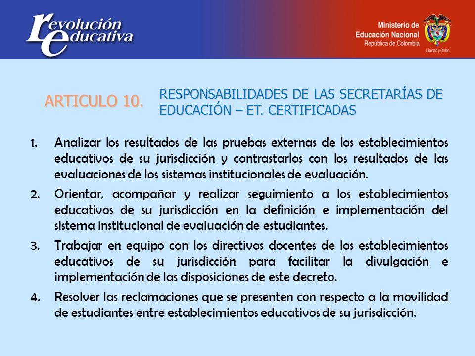RESPONSABILIDADES DE LAS SECRETARÍAS DE EDUCACIÓN – ET. CERTIFICADAS 1.Analizar los resultados de las pruebas externas de los establecimientos educati