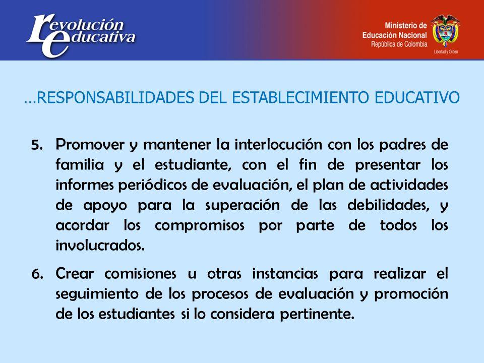 5.Promover y mantener la interlocución con los padres de familia y el estudiante, con el fin de presentar los informes periódicos de evaluación, el pl