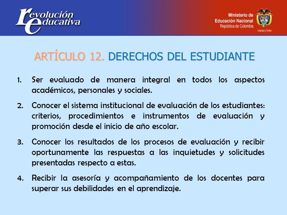1.Ser evaluado de manera integral en todos los aspectos académicos, personales y sociales.Ser evaluado de manera integral en todos los aspectos académ