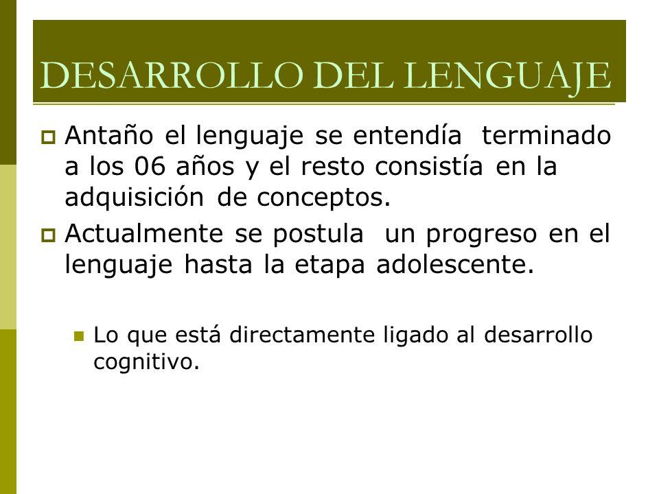 DESARROLLO DEL LENGUAJE Antaño el lenguaje se entendía terminado a los 06 años y el resto consistía en la adquisición de conceptos. Actualmente se pos