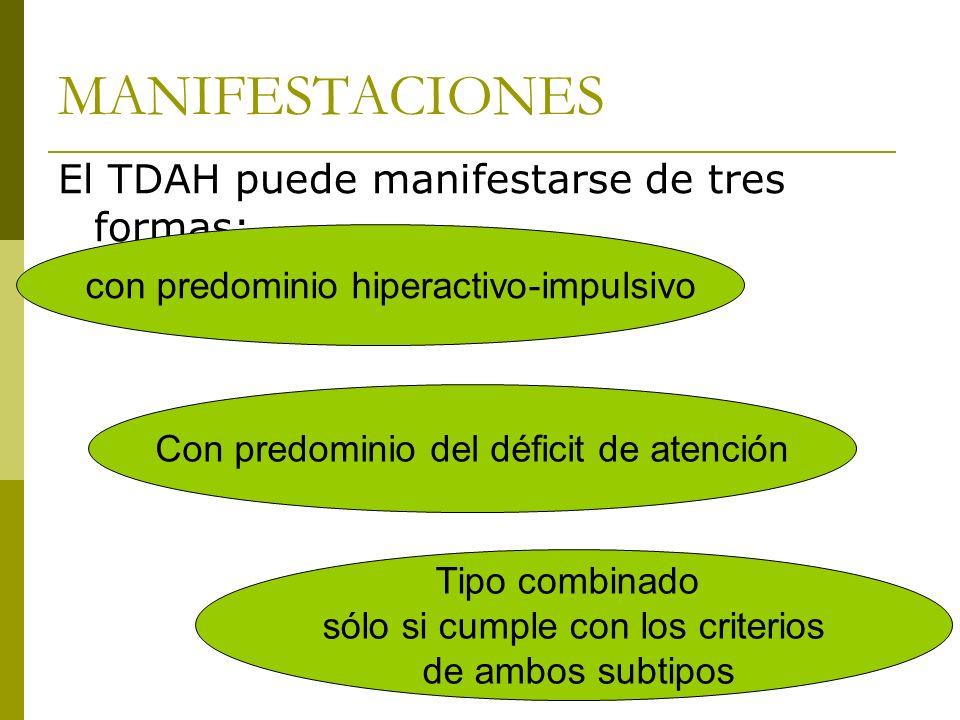MANIFESTACIONES El TDAH puede manifestarse de tres formas: Tipo combinado sólo si cumple con los criterios de ambos subtipos con predominio hiperactivo-impulsivo Con predominio del déficit de atención