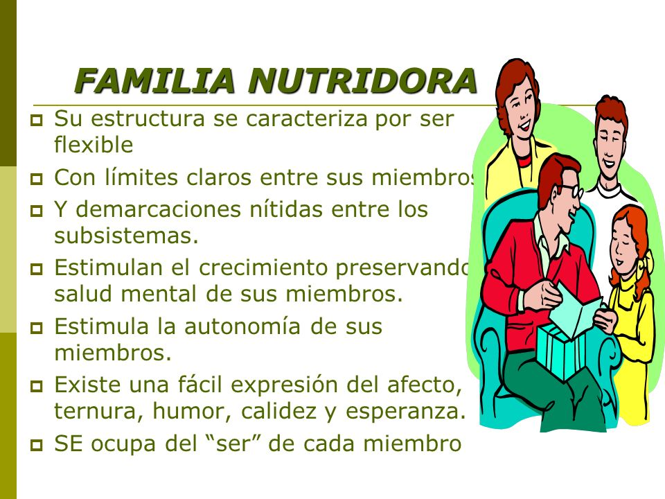 FAMILIA NUTRIDORA FAMILIA NUTRIDORA Su estructura se caracteriza por ser flexible Con límites claros entre sus miembros Y demarcaciones nítidas entre los subsistemas.