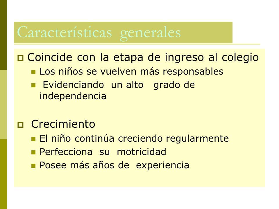 Características generales Coincide con la etapa de ingreso al colegio Los niños se vuelven más responsables Evidenciando un alto grado de independenci
