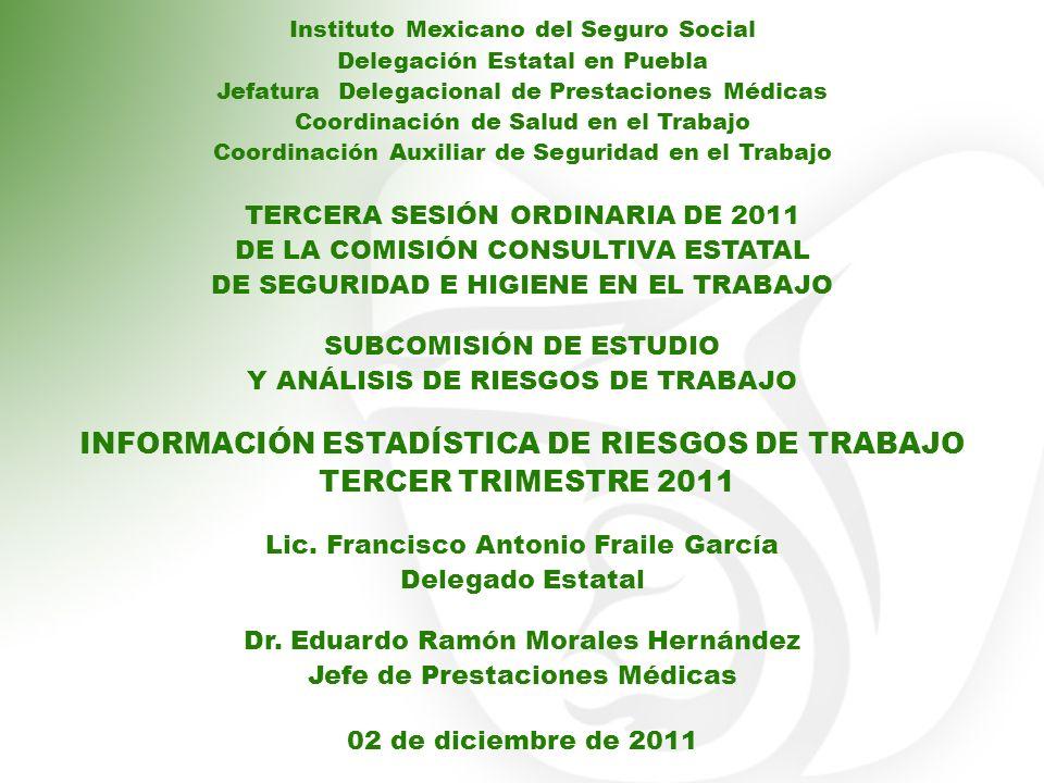 Instituto Mexicano del Seguro Social Delegación Estatal en Puebla Jefatura Delegacional de Prestaciones Médicas Coordinación de Salud en el Trabajo Co