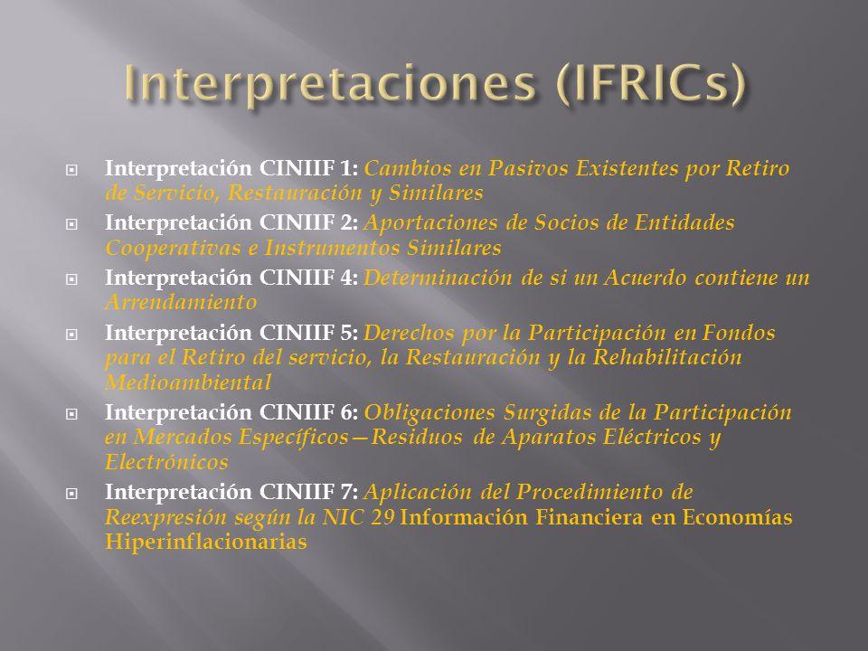 Interpretación CINIIF 1: Cambios en Pasivos Existentes por Retiro de Servicio, Restauración y Similares Interpretación CINIIF 2: Aportaciones de Socio
