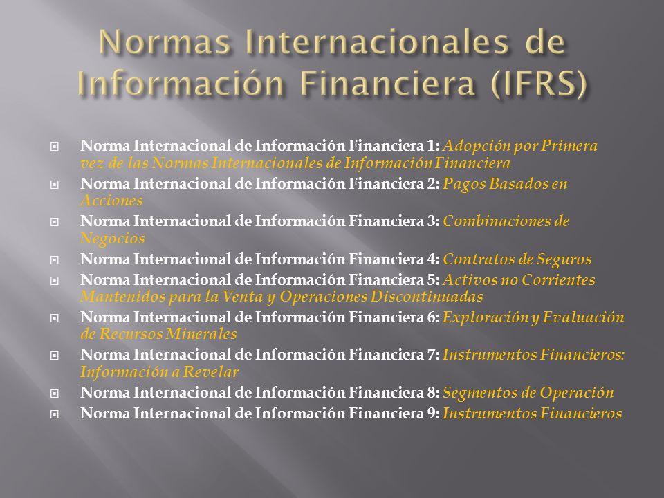 Norma Internacional de Información Financiera 1: Adopción por Primera vez de las Normas Internacionales de Información Financiera Norma Internacional