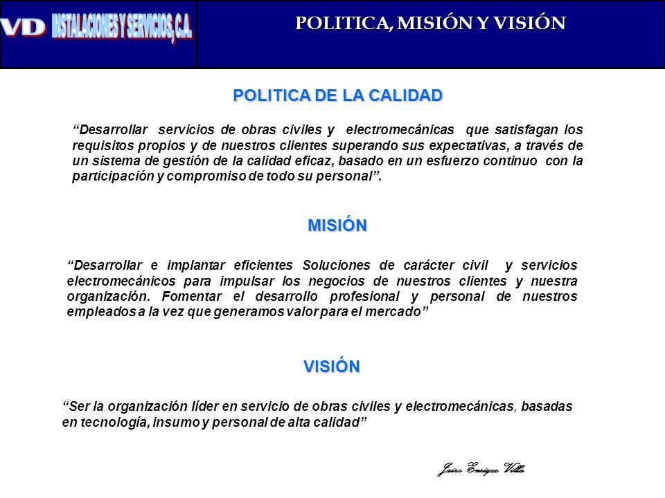 POLITICA DE LA CALIDAD POLITICA, MISIÓN Y VISIÓN Desarrollar servicios de obras civiles y electromecánicas que satisfagan los requisitos propios y de