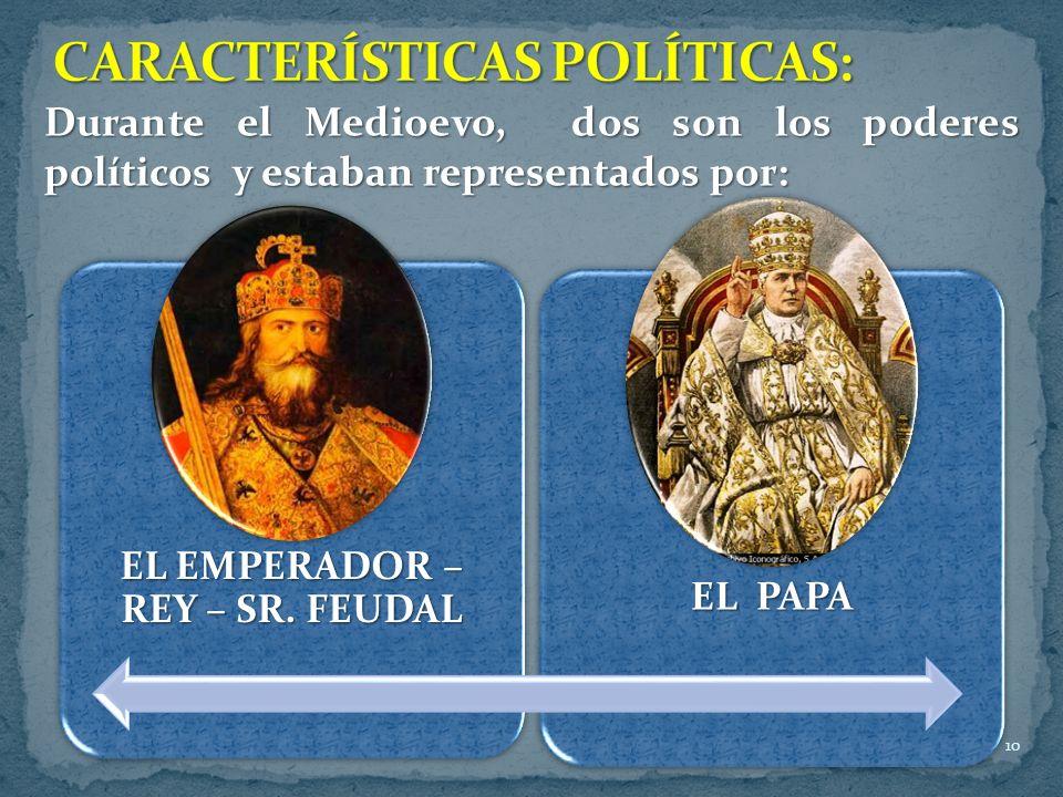 10 Durante el Medioevo, dos son los poderes políticos y estaban representados por: EL EMPERADOR – REY – SR. FEUDAL EL PAPA