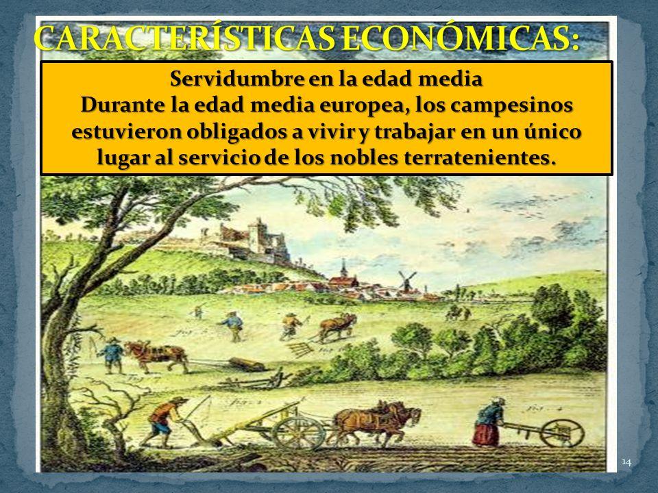 14 La economía durante la edad media era exclusivamente agraria; el comercio se reducía al simple intercambio de productos llamado trueque, pero todo