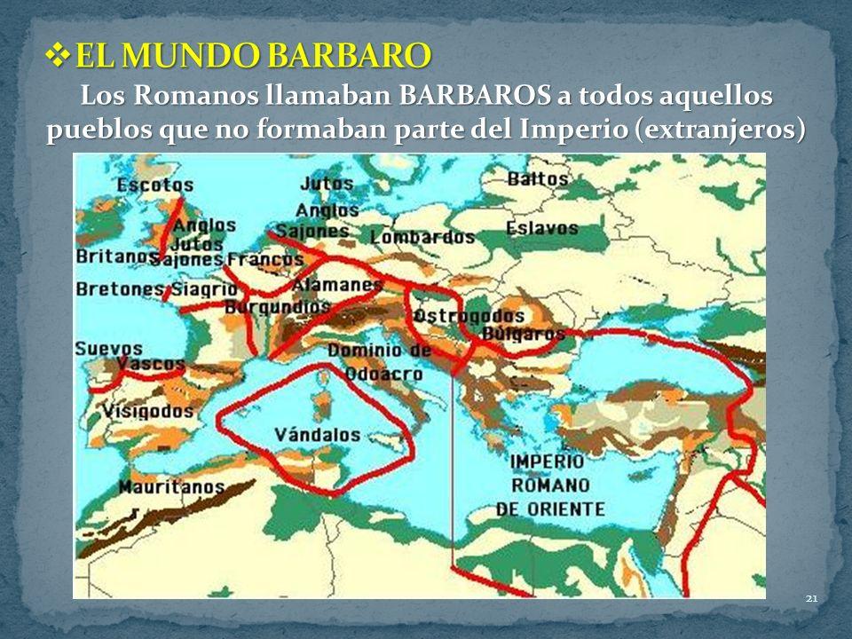 21 Los Romanos llamaban BARBAROS a todos aquellos pueblos que no formaban parte del Imperio (extranjeros)