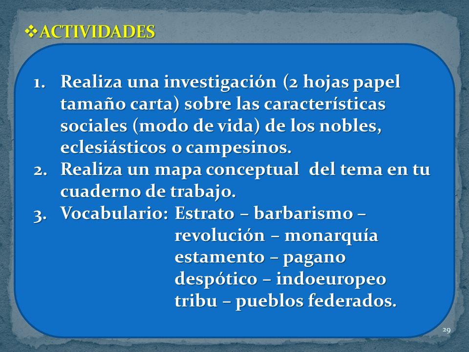 29 1.Realiza una investigación (2 hojas papel tamaño carta) sobre las características sociales (modo de vida) de los nobles, eclesiásticos o campesino