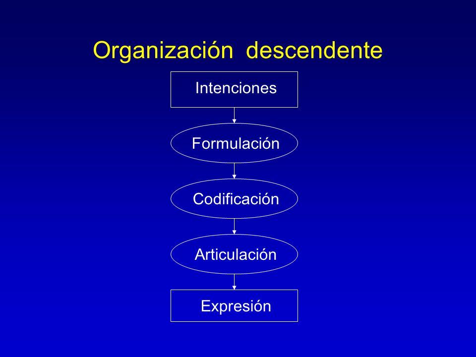Organización descendente Intenciones Expresión Articulación Formulación Codificación