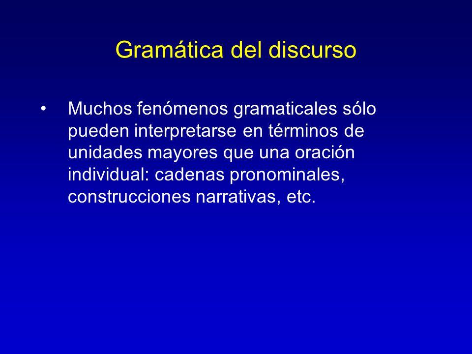 Gramática del discurso Muchos fenómenos gramaticales sólo pueden interpretarse en términos de unidades mayores que una oración individual: cadenas pro