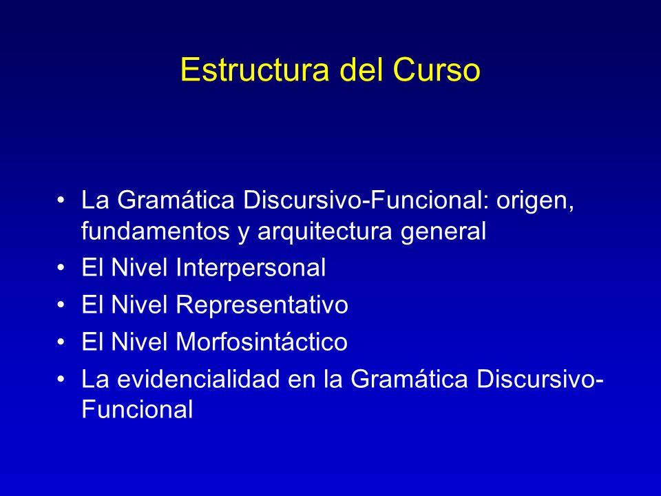 Estructura del Curso La Gramática Discursivo-Funcional: origen, fundamentos y arquitectura general El Nivel Interpersonal El Nivel Representativo El N