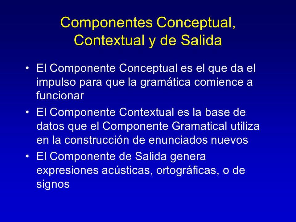 Componentes Conceptual, Contextual y de Salida El Componente Conceptual es el que da el impulso para que la gramática comience a funcionar El Componen