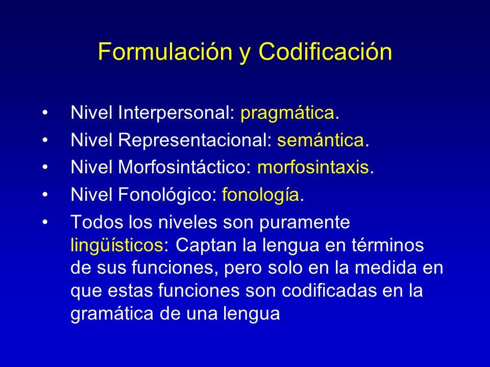Formulación y Codificación Nivel Interpersonal: pragmática. Nivel Representacional: semántica. Nivel Morfosintáctico: morfosintaxis. Nivel Fonológico:
