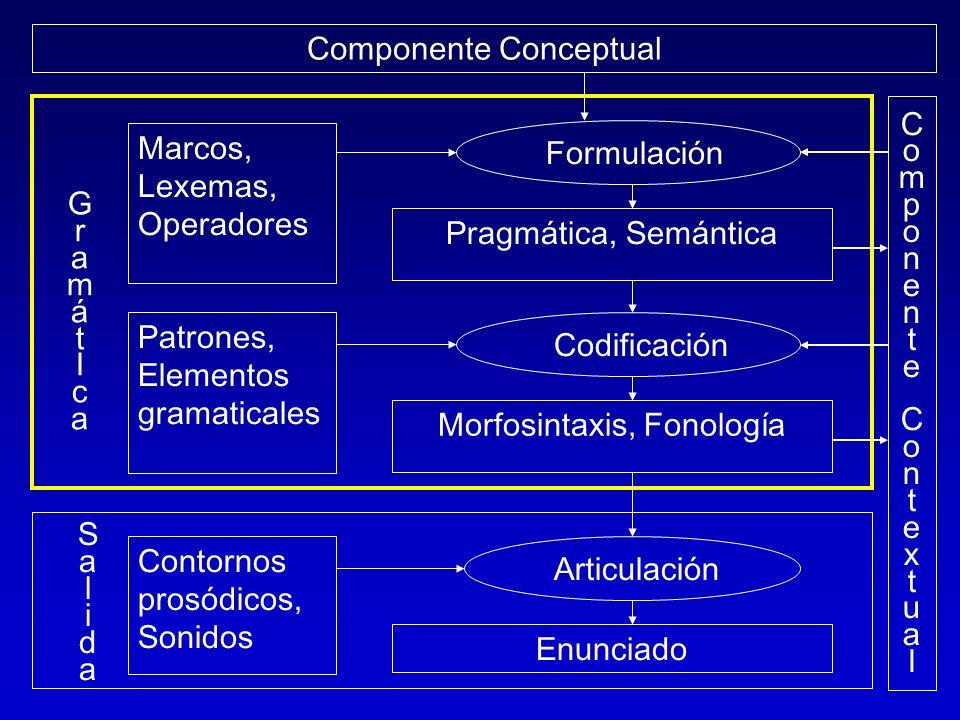 Componente Conceptual ComponenteContextualComponenteContextual Articulación Enunciado Contornos prosódicos, Sonidos Marcos, Lexemas, Operadores Patron