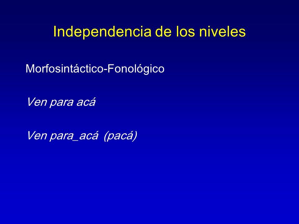 Independencia de los niveles Morfosintáctico-Fonológico Ven para acá Ven para_acá (pacá)
