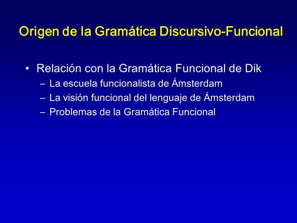 Origen de la Gramática Discursivo-Funcional Relación con la Gramática Funcional de Dik –La escuela funcionalista de Ámsterdam –La visión funcional del