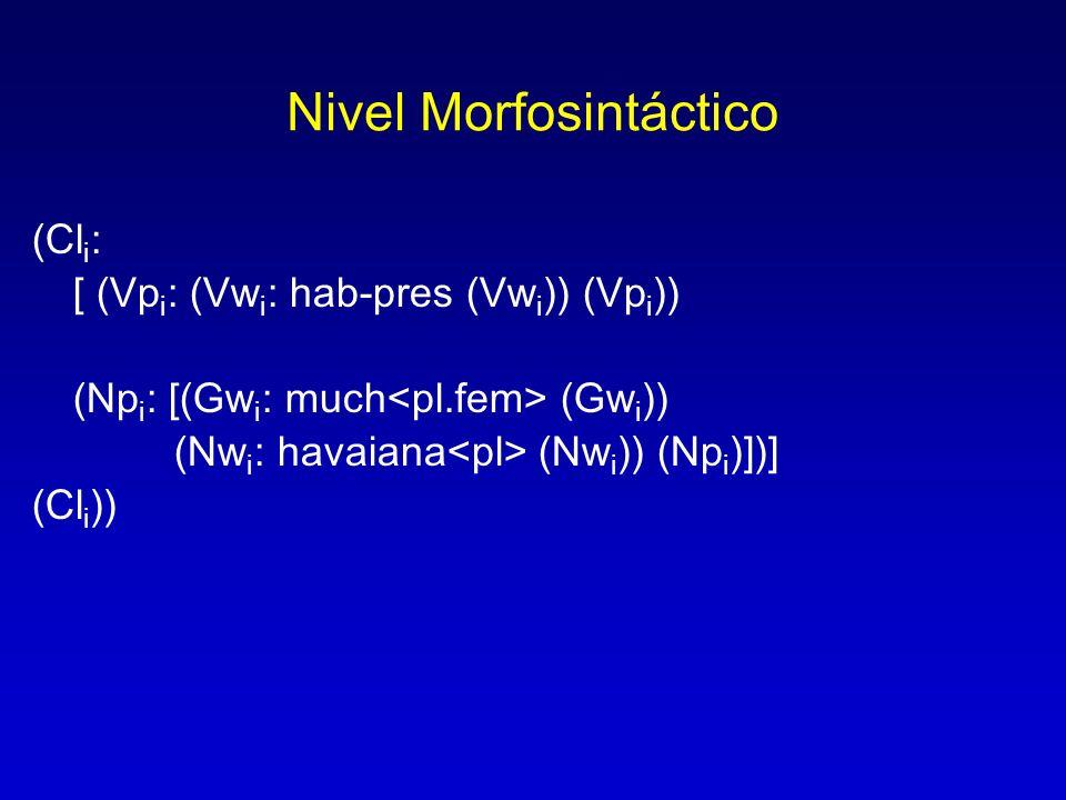 Nivel Morfosintáctico (Cl i : [ (Vp i : (Vw i : hab-pres (Vw i )) (Vp i )) (Np i : [(Gw i : much (Gw i )) (Nw i : havaiana (Nw i )) (Np i )])] (Cl i )