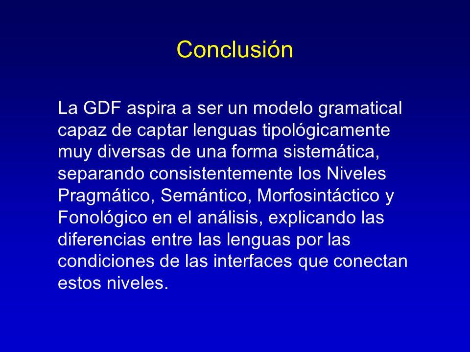 Conclusión La GDF aspira a ser un modelo gramatical capaz de captar lenguas tipológicamente muy diversas de una forma sistemática, separando consisten