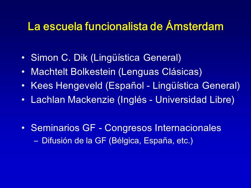 La escuela funcionalista de Ámsterdam Simon C. Dik (Lingüística General) Machtelt Bolkestein (Lenguas Clásicas) Kees Hengeveld (Español - Lingüística