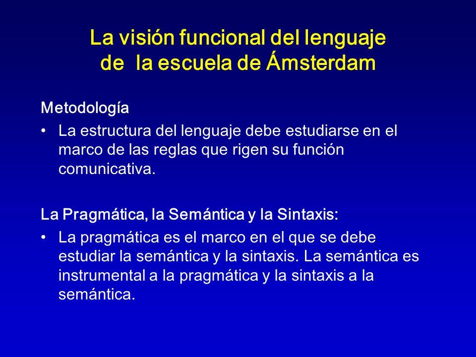 La visión funcional del lenguaje de la escuela de Ámsterdam Metodología La estructura del lenguaje debe estudiarse en el marco de las reglas que rigen