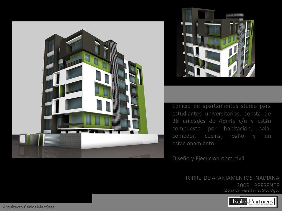 Edificio de apartamentos studio para estudiantes universitarios, consta de 36 unidades de 45mts c/u y están compuesto por habitación, sala, comedor, c