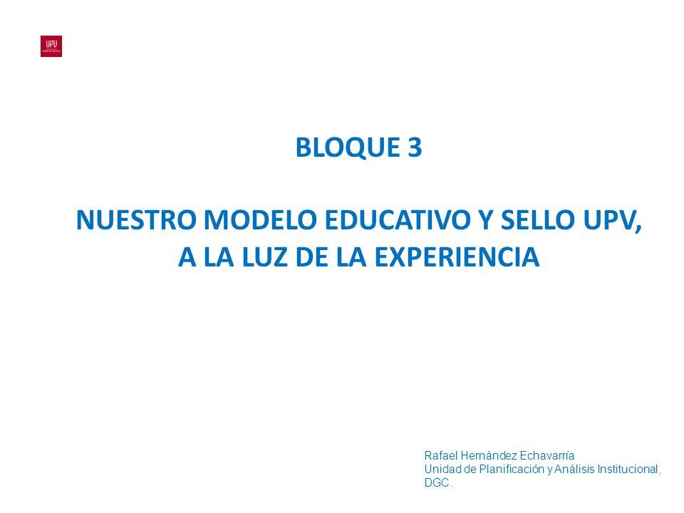 BLOQUE 3 NUESTRO MODELO EDUCATIVO Y SELLO UPV, A LA LUZ DE LA EXPERIENCIA Rafael Hernández Echavarría Unidad de Planificación y Análisis Institucional, DGC.