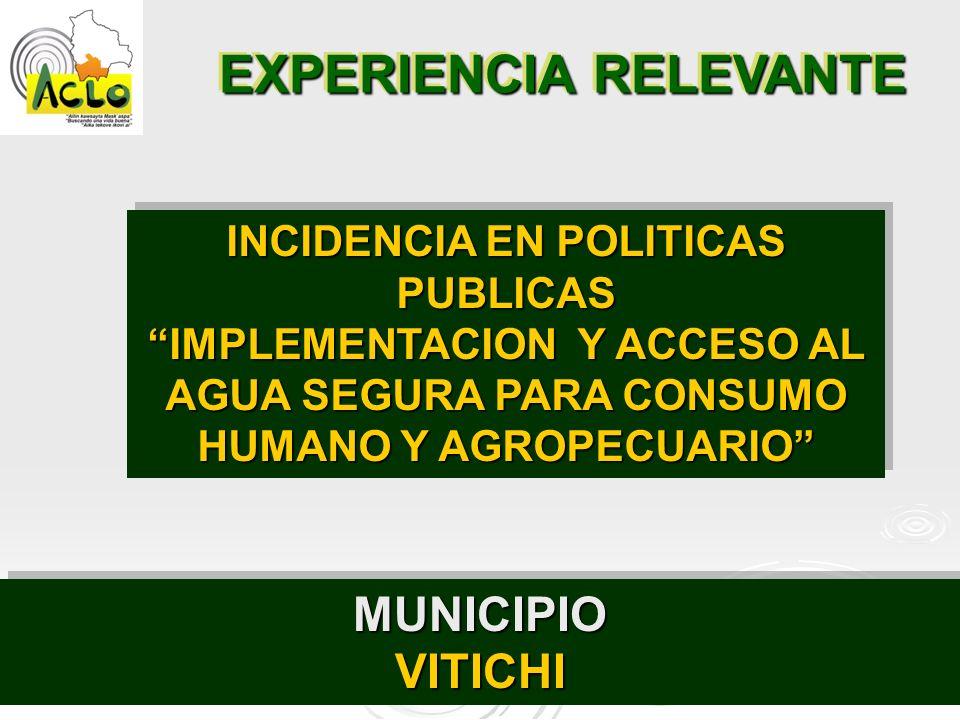 EXPERIENCIA RELEVANTE MUNICIPIOVITICHIMUNICIPIOVITICHI INCIDENCIA EN POLITICAS PUBLICAS IMPLEMENTACION Y ACCESO AL AGUA SEGURA PARA CONSUMO HUMANO Y A