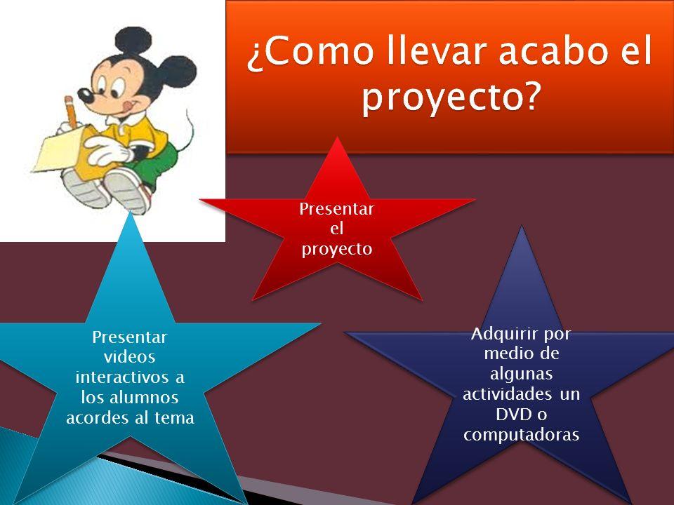 Presentar el proyecto Adquirir por medio de algunas actividades un DVD o computadoras Presentar videos interactivos a los alumnos acordes al tema