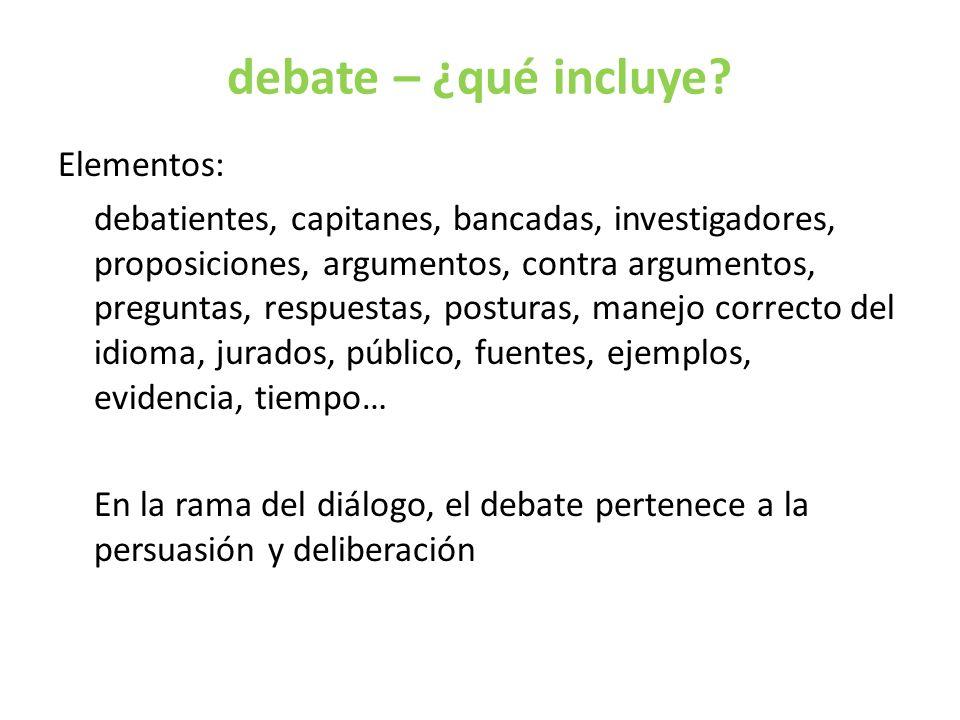 debate – ¿qué incluye.